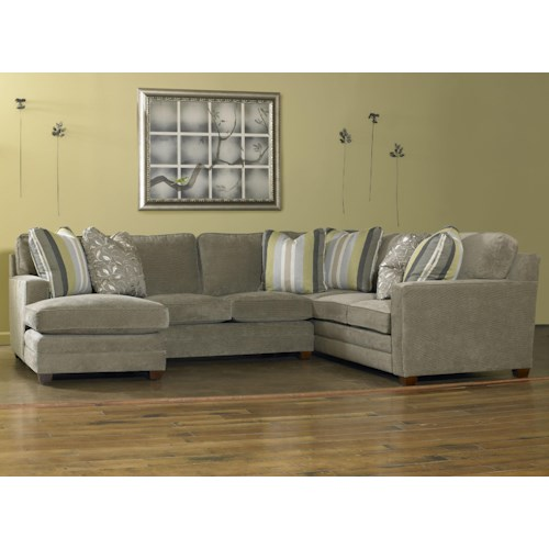 Sam Moore Ricky Contemporary Three Piece Sectional Sofa w/ LAF Chaise