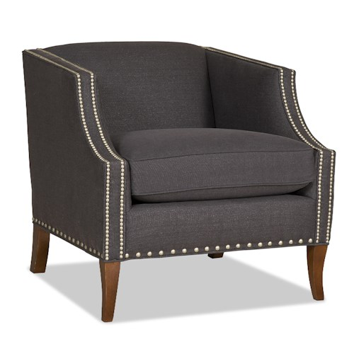 Sam Moore Rory Contemporary Shelter-Back Chair with Nailhead Trim