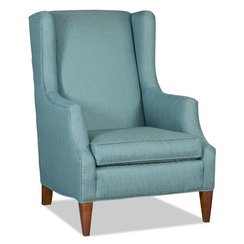 Sam Moore Tenison Transitional Wing Chair with Welt Cord and Tapered Wood Legs