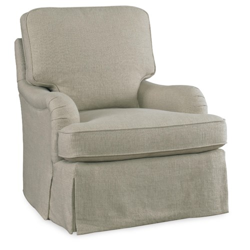 Sam Moore Tilly Transitional Swivel Glider with English Arms and Waterfall Skirt
