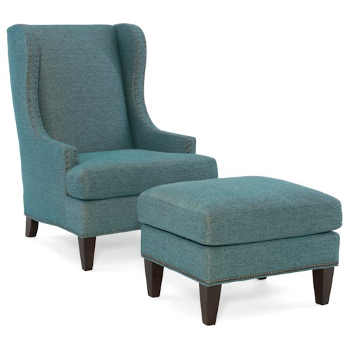 Sam Moore Tobias Transitional Wing Chair and Ottoman Set with Nailhead Trim