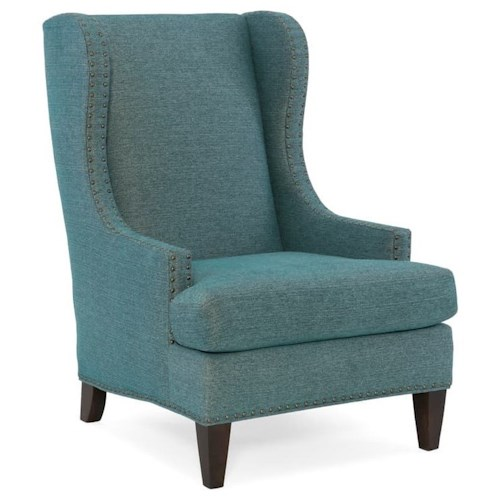 Sam Moore Tobias Transitional Wing Chair with Nailhead Border