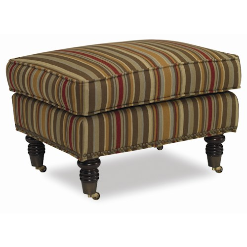 Sam Moore Tyler Ottoman with Decoratively Turned Wood Legs and Casters