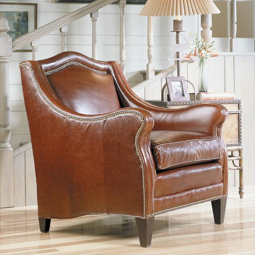 Sam Moore Windsor Traditional Club Wing Chair with Nailhead Trim