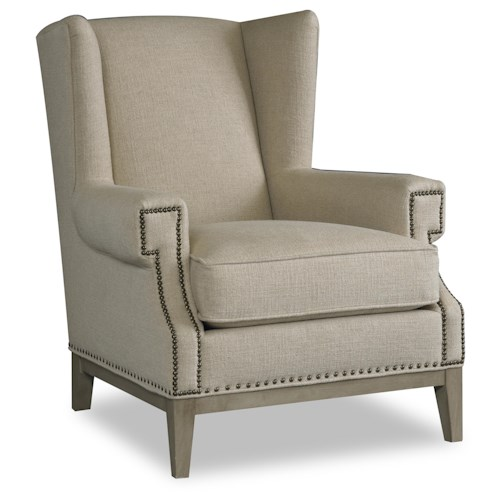 Sam Moore Zahara Contemporary Exposed Wood Chair with Wing Back and Nailhead Trim