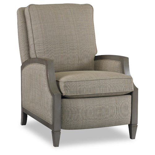Sam Moore Zephyr Contemporary Reclining Chair with Sloped Arms and Exposed Wood Trim