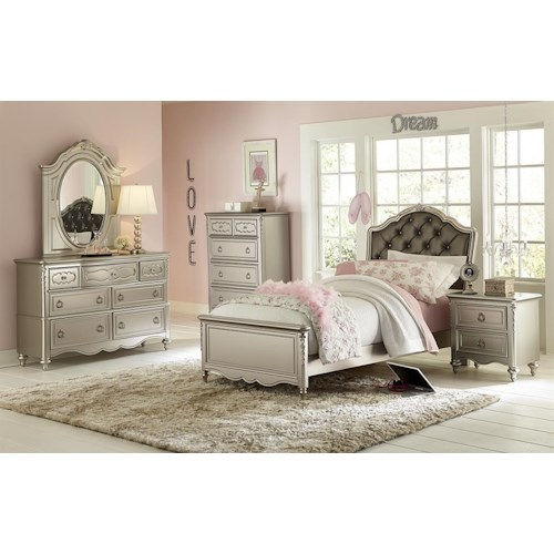 Samuel Lawrence Sterling Youth Full Princess Bed, Dresser, Mirror & Nighstand