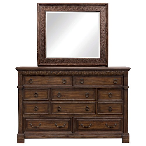 Samuel Lawrence Barcelona Traditional 10 Drawer Dresser and Mirror Combo