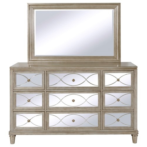 Samuel Lawrence Cut Glass 9 Drawer Dresser and Beveled Mirror Combo