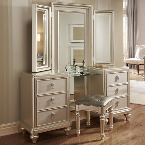 Morris Home Furnishings South Beach Vanity Dresser & Tri-View Mirror Combo w/ Stool