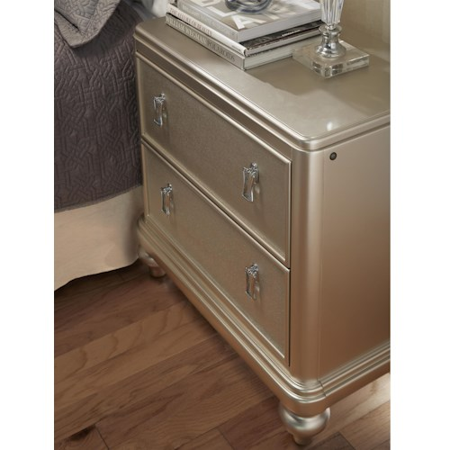 Morris Home Furnishings South Beach 2-Drawer Nightstand w/ Embossed Faux Leather