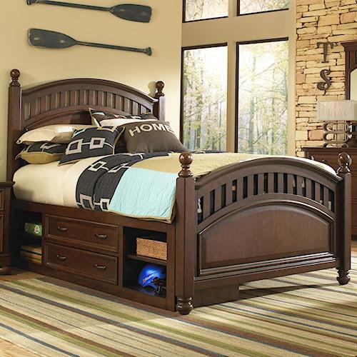 Kidz Gear Griffin Twin Low Post Bed w/ Storage Unit