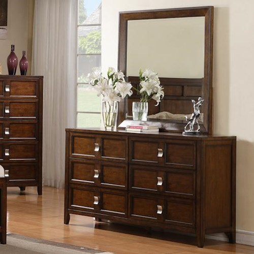 Samuel Lawrence Bayfield Wooden Six-Drawer Dresser with Landscape Mirror