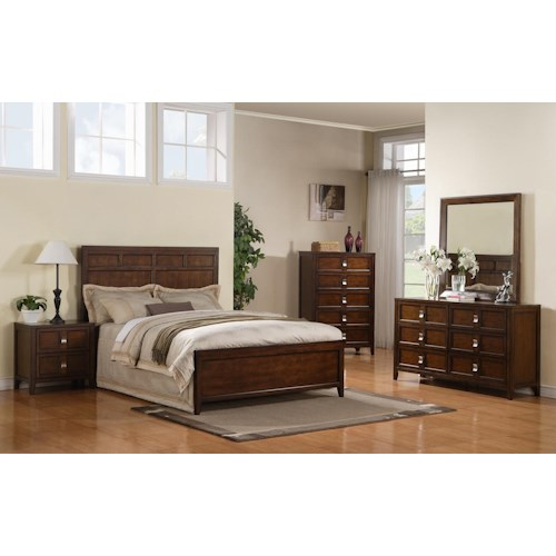 Samuel Lawrence Bayfield King Panel Bed, Dresser, Mirror & Nightstand