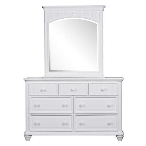 Morris Home Furnishings Shelbourne White 7 Drawer Dresser & Mirror Set