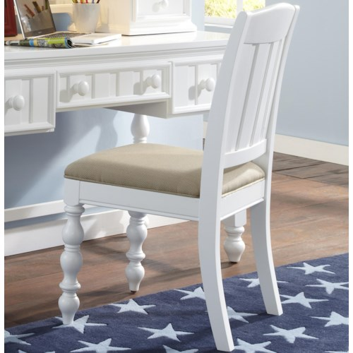 Kidz Gear Campbell White Stationary Task Chair with Turned Front Legs