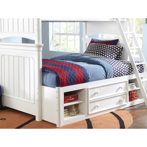 Kidz Gear Campbell White Extended Bunk Bed with Storage