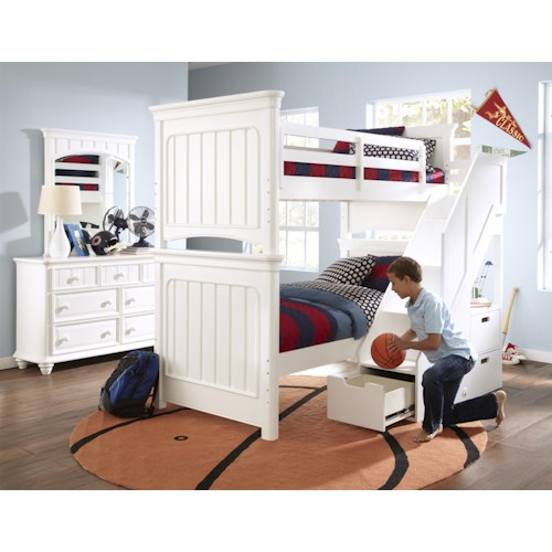 Kidz Gear Campbell White Twin Bunk Bed with Steps