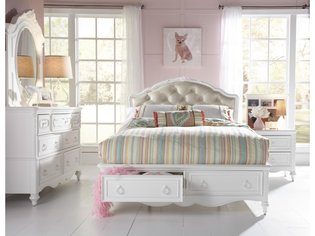 Shown with Oval Mirror and Dresser. Left Drawer in Footboard Storage is Open. Bed Shown May Not Represent Size Indicated
