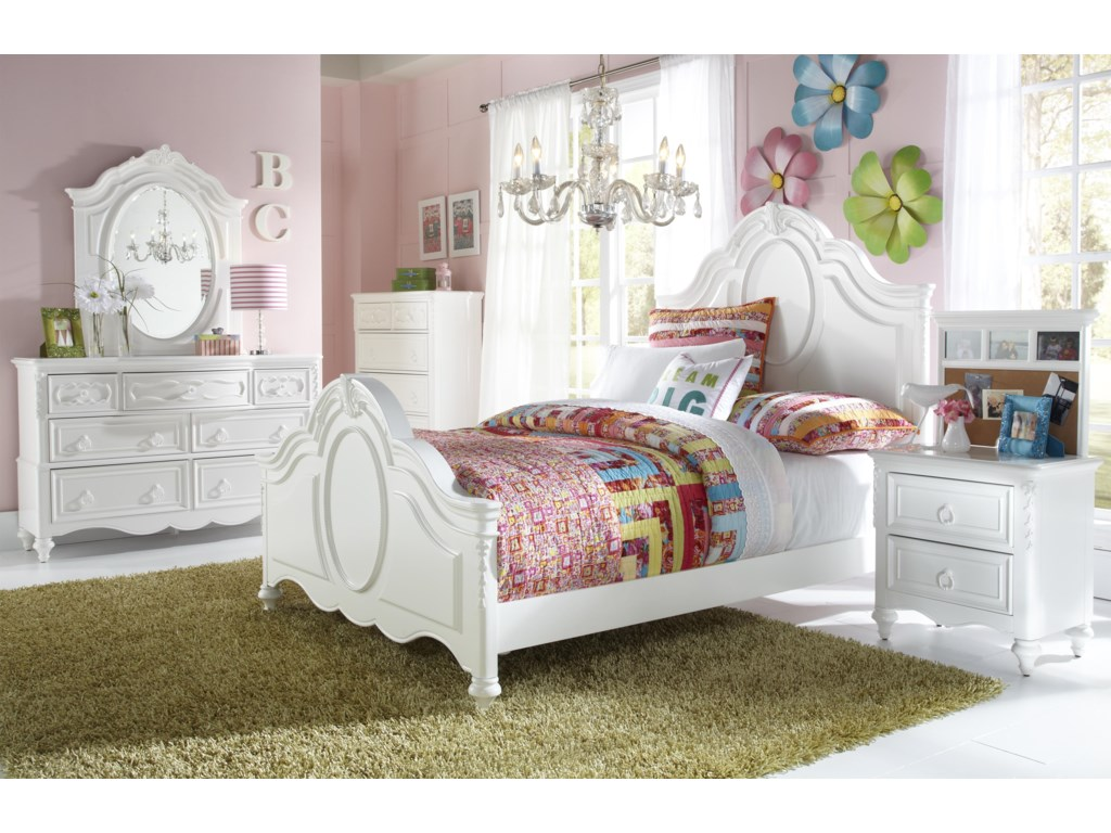 Shown with Oval Mirror, 5 Drawer Chest, Panel Bed and Nightstand with Back Panel