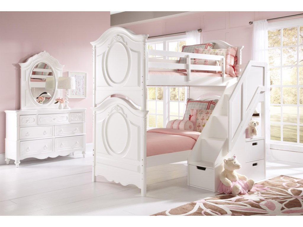 Shown with Oval Mirror and Bunk Beds with Steps and 3 Drawers