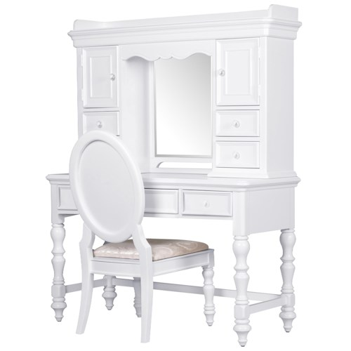 Kidz Gear Eleanor Complete Desk and Hutch with Crystal Knobs