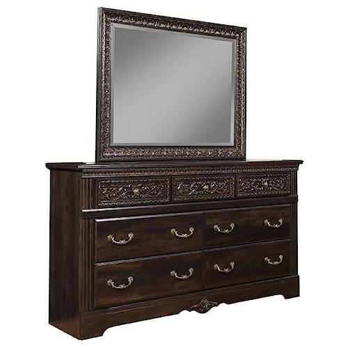 Sandberg Furniture Andorra 7 Drawer Dresser and Mirror Set