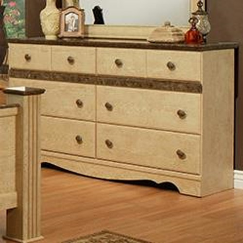 Sandberg Furniture Casa Blanca 6 Drawer Dresser with Faux Marble Top