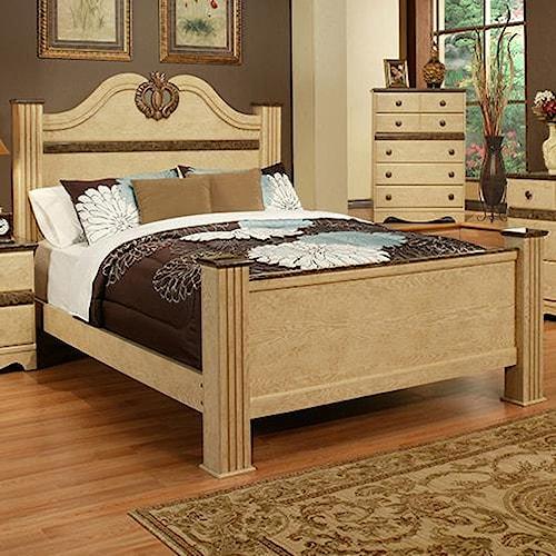 Sandberg Furniture Casa Blanca King Estate Bed with Pineapple Motif