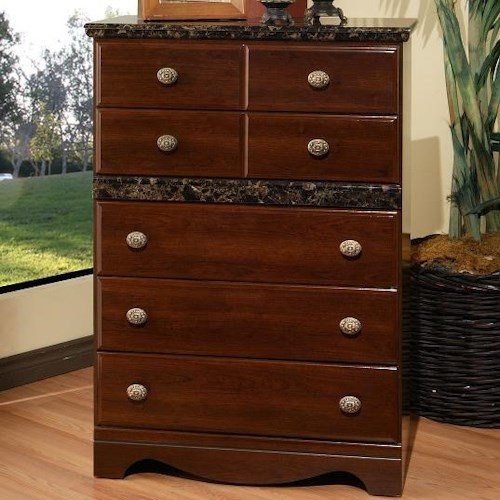 Sandberg Furniture Colina 5 Drawer Chest with Marble Top