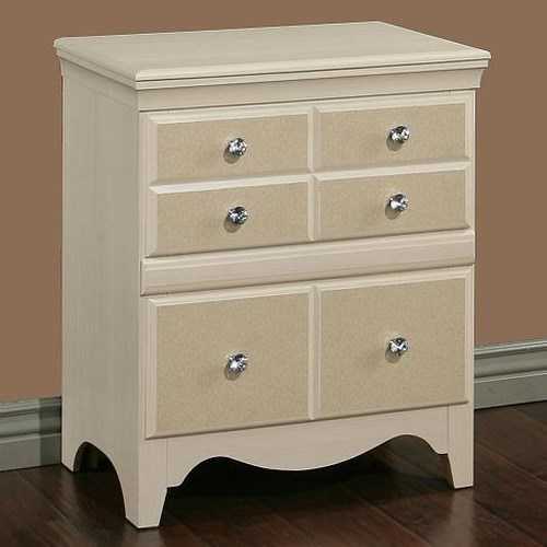 Sandberg Furniture Marilyn 2 Drawer Nightstand with Polished Silver Diamond Knobs