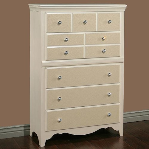 Sandberg Furniture Marilyn 5 Drawer Chest with Vine Motif Drawer Fronts
