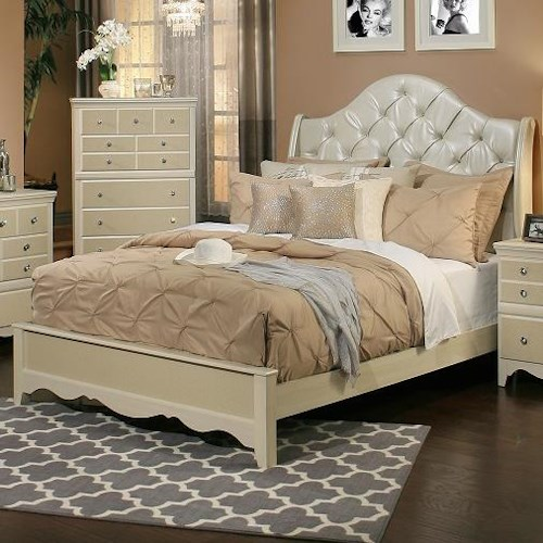 Sandberg Furniture Marilyn California King Bed with Diamond Tufted Headboard