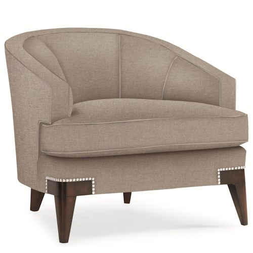 schnadig maggie modern barrel back chair with channel tufted back and chrome nail head accents channel tufted furniture