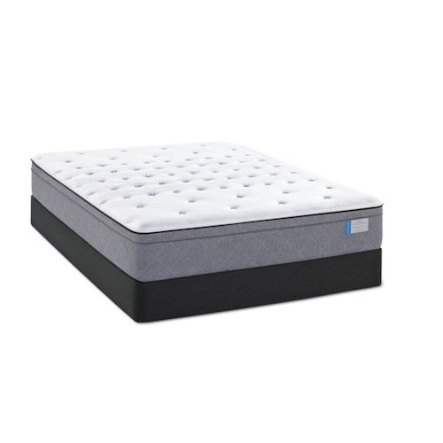Sealy Posturepedic Lake Tai Twin Plush FX Euro Pillow Top Mattress and Low Profile StableSupport Foundation