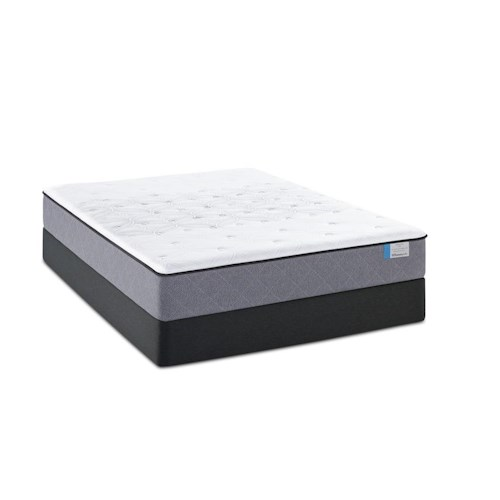 Sealy Posturepedic Lake Tai Cal King Plush Tight Top Mattress and Low Profile StableSupport Foundation