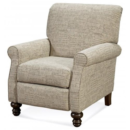Serta Upholstery by Hughes Furniture 240 Serta Upholstery High Leg Recliner with Turned Feet