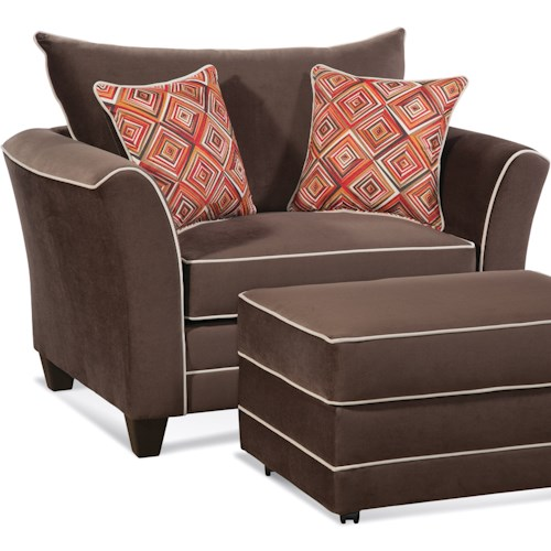 Serta Upholstery by Hughes Furniture 2650 Transitional Cuddle Chair with Accent Welt