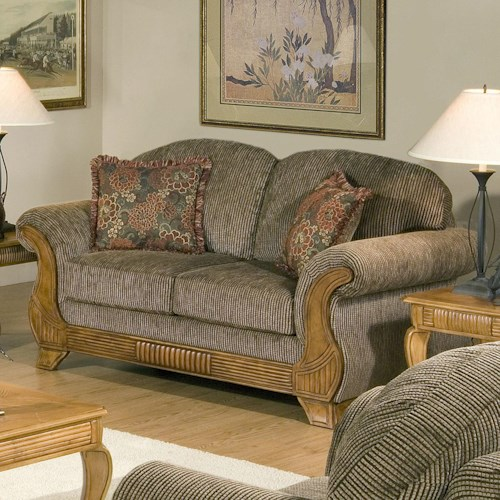 Serta Upholstery 7400  Classic Styled Loveseat with Traditional Wood Face Accent