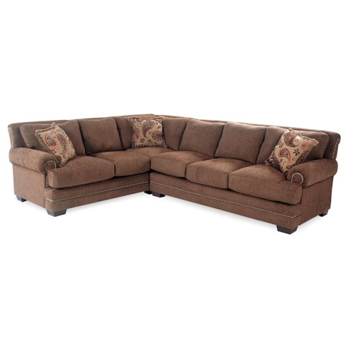 Serta Upholstery Sunderland 2PC Sectional w/ Nailhead Trim