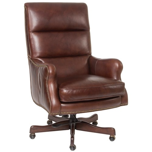 Hooker Furniture Executive Seating Classic Styled Leather Desk Chair with Nail Head Trim