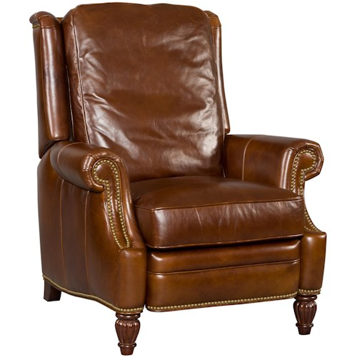 Hooker Furniture Reclining Chairs Traditional High Leg Recliner with Rolled Arms