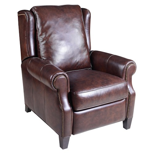 Hooker Furniture Reclining Chairs Transitional High Leg Recliner with Nailhead Stud Detailing