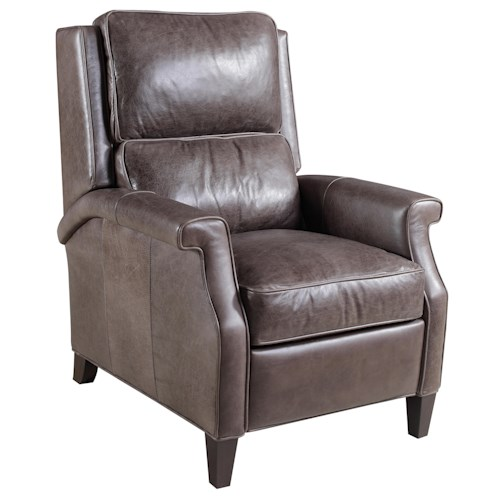 Hooker Furniture Reclining Chairs Transitional High Leg Recliner Chair with Tapered Wood Legs