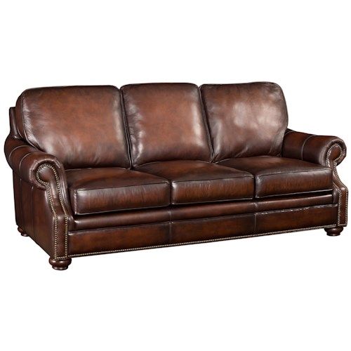 Hooker Furniture SS185 Brown Leather Sofa with Wood Exposed Bun Foot