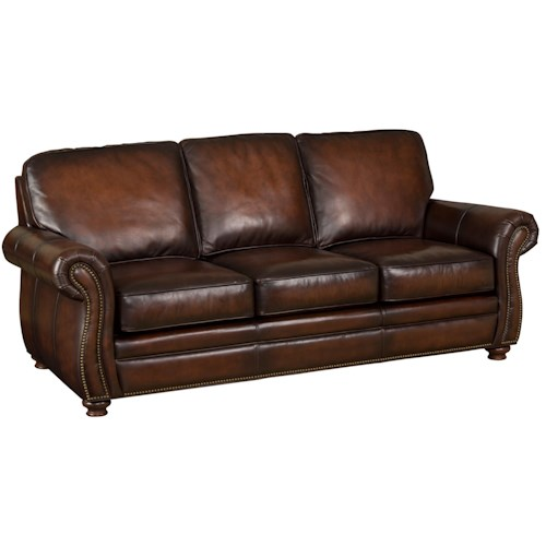 Hooker Furniture SS186 Brown Leather Sofa with Exposed-Wood Bun Feet
