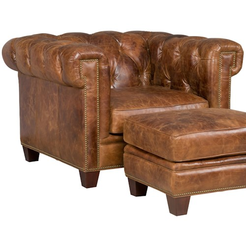 Hooker Furniture SS195-087 Transitional Chesterfield Chair with Track Arms and Nailheads