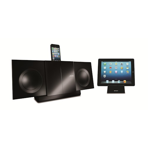 Sharp Electronics Shelf Stereo Systems Audio Slim Micro Shelf System with 3-in-1 iPod®/iPhone®/iPad® Connection
