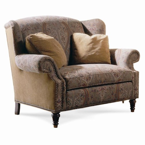 Sherrill Casual Chair And Half with Wing Back Sides and Nailhead Trim