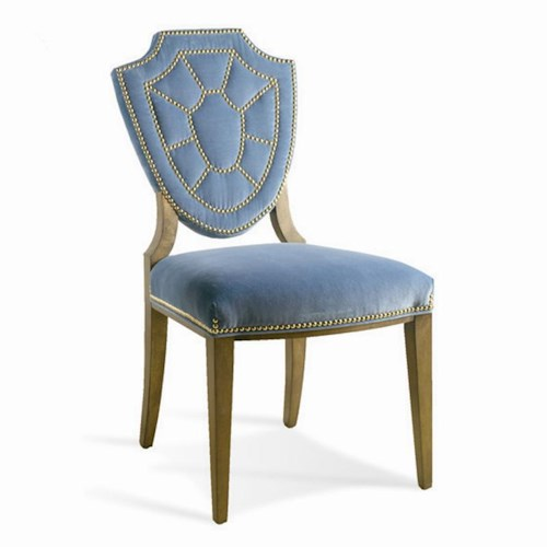 Sherrill Dan Carithers Upholstered Shield Back Dining Side Chair with Nailhead Trim
